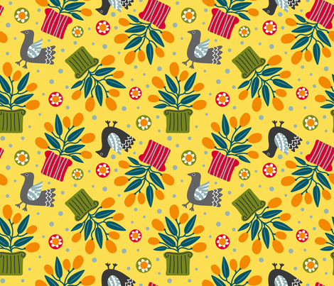 Doves & Cumquats fabric by yellowstudio on Spoonflower - custom fabric