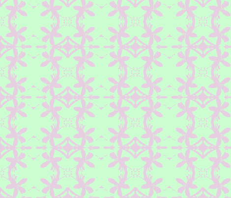 Garlands of Lemon Blossoms Lavender on lime fabric by walkwithmagistudio on Spoonflower - custom fabric