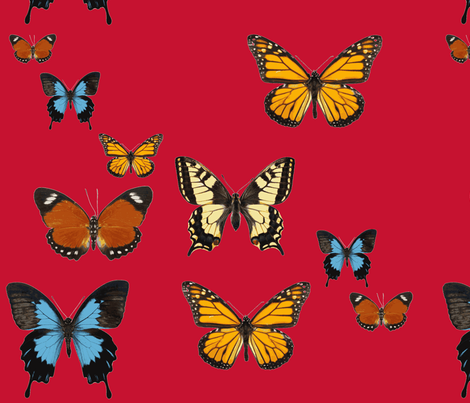 Butterflies on Red fabric by frances_hollidayalford on Spoonflower - custom fabric
