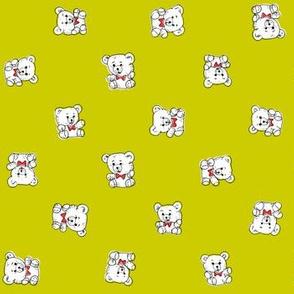 Bow Tie Teddy Bears | Green-Gold