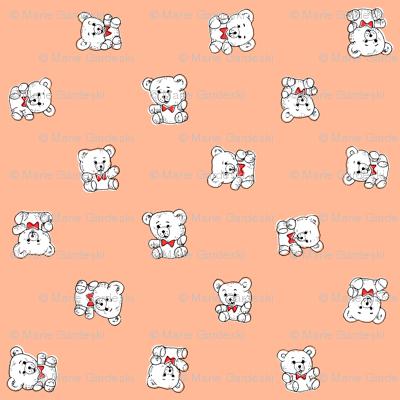 Bow Tie Teddy Bears | Salmon/Peach