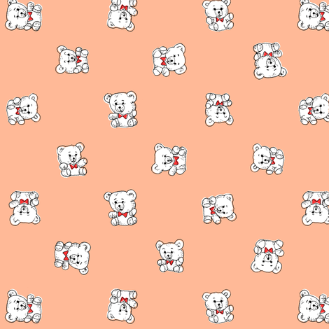 Bow Tie Teddy Bears | Salmon/Peach fabric by imaginaryanimal on Spoonflower - custom fabric