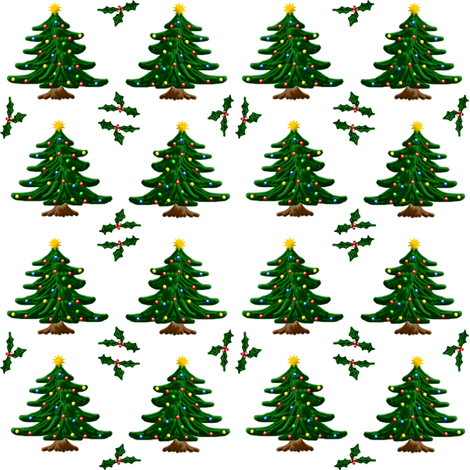 Christmas Trees and Holly fabric by ravynscache on Spoonflower - custom fabric