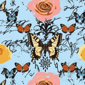 Butterflies on Blue