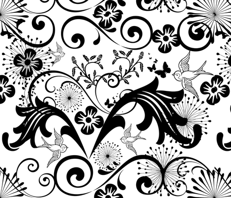 Baroque, Black and White fabric by frances_hollidayalford on Spoonflower - custom fabric