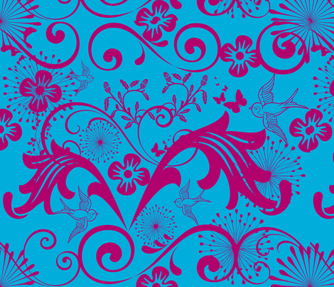Baroque in Blue and Magenta fabric by frances_hollidayalford on Spoonflower - custom fabric