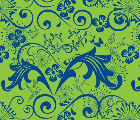 Baroque in Green and Blue fabric by frances_hollidayalford on Spoonflower - custom fabric