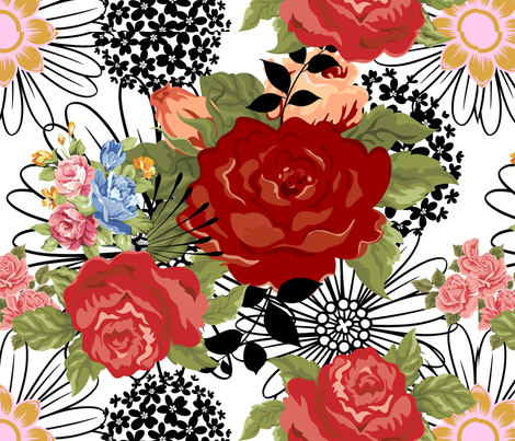 Red Roses on a White Background fabric by frances_hollidayalford on Spoonflower - custom fabric