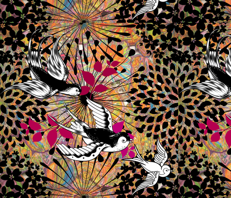 Flying in the Flowers fabric by frances_hollidayalford on Spoonflower - custom fabric