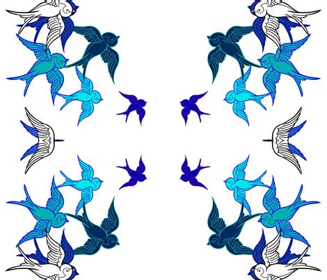 Blue Birds, White Birds fabric by frances_hollidayalford on Spoonflower - custom fabric