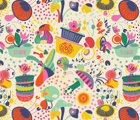 Mostly Mushrooms fabric by pragya_k on Spoonflower - custom fabric