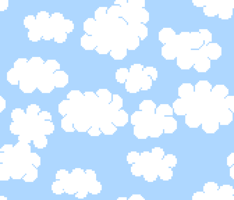 8bit clouds fabric by spacefem on Spoonflower - custom fabric