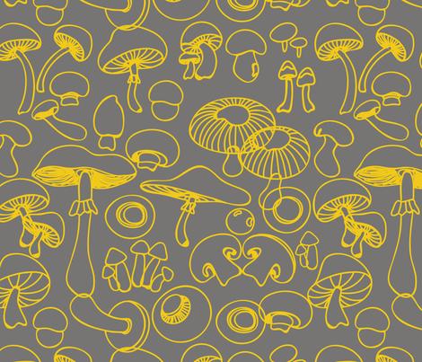 yellow_mushrooms fabric by pragya_k on Spoonflower - custom fabric