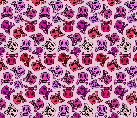 pink skulls regular fabric by susiprint on Spoonflower - custom fabric