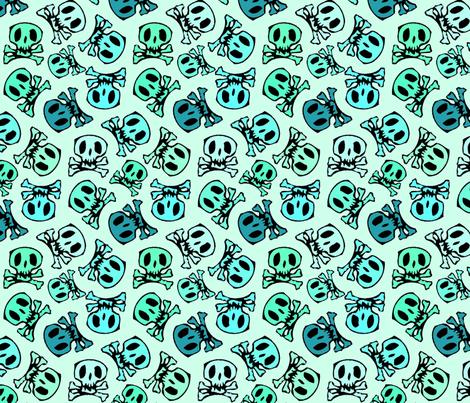 skulls on mint regular fabric by susiprint on Spoonflower - custom fabric