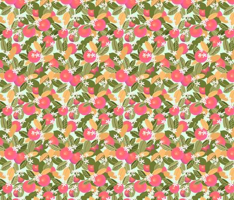 Citrus Abundance 3 Pink Fruit fabric by vinpauld on Spoonflower - custom fabric