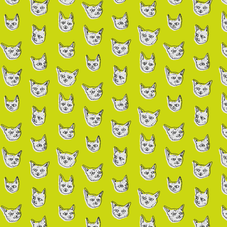 Gritty Kitties | Green fabric by imaginaryanimal on Spoonflower - custom fabric