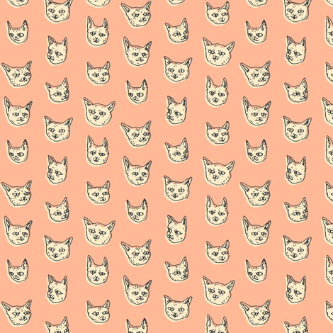 Gritty Kitties | Salmon fabric by imaginaryanimal on Spoonflower - custom fabric