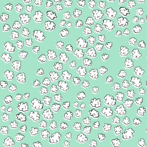Popcorn Clouds | Aqua Green fabric by imaginaryanimal on Spoonflower - custom fabric