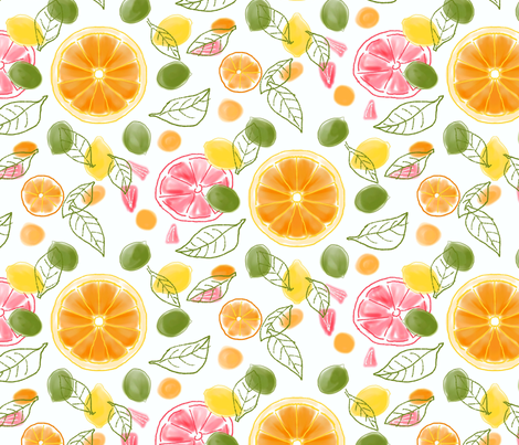 Citrus Slices and Leaves fabric by vinpauld on Spoonflower - custom fabric