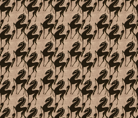 Burlap_horses fabric by kirpa on Spoonflower - custom fabric