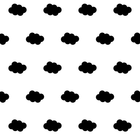 black cloud on white fabric by pencilmein on Spoonflower - custom fabric