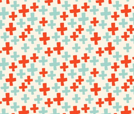 Swiss Cross - Cream/Cambridge Blue/Vermillion fabric by andrea_lauren on Spoonflower - custom fabric