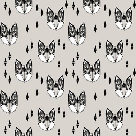fox // geometric fox head cute triangles grey kids nursery baby baby boy grey foxes fabric by andrea_lauren on Spoonflower - custom fabric