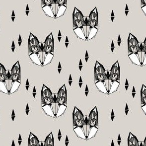 fox // geometric fox head cute triangles grey kids nursery baby baby boy grey foxes
