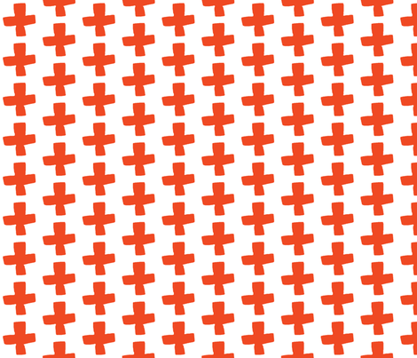 Swiss Cross - Champagne/Vermillion fabric by andrea_lauren on Spoonflower - custom fabric