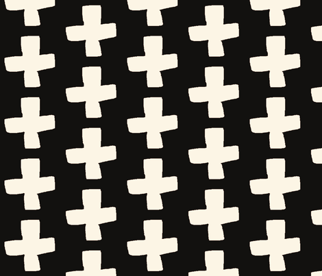 plus // black and cream  fabric by andrea_lauren on Spoonflower - custom fabric