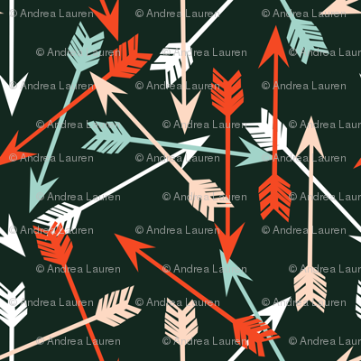 Arrows Scattered - Rifle Green/Vermillion/Blush/Pale Turquoise/White by Andrea Lauren