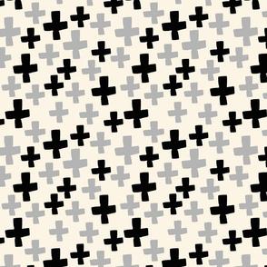 Swiss Cross - Cream/Black/Light Grey