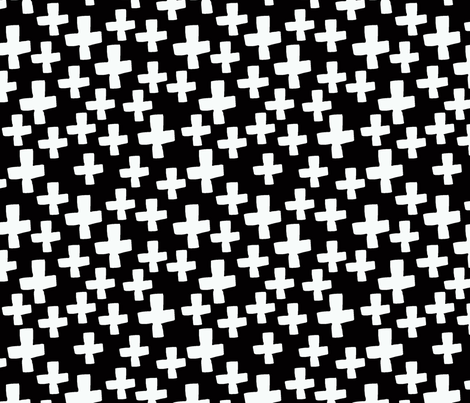 plus // black and white swiss cross baby kids nursery fabric by andrea_lauren on Spoonflower - custom fabric