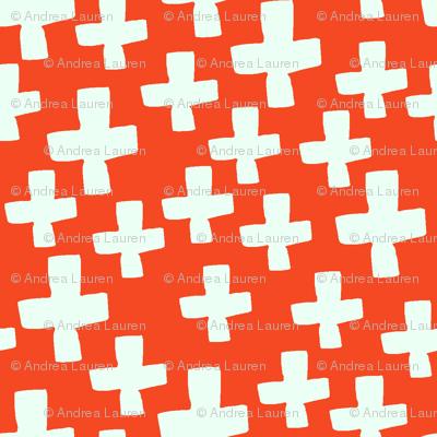 Swiss Cross - Vermillion/Cream