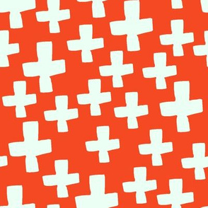 Swiss Cross - Vermillion/Cream