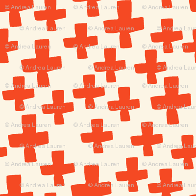 Swiss Cross - Cream/Vermillion