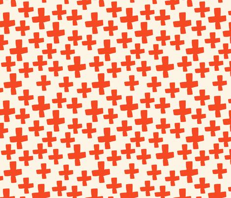 Swiss Cross - Cream/Vermillion fabric by andrea_lauren on Spoonflower - custom fabric