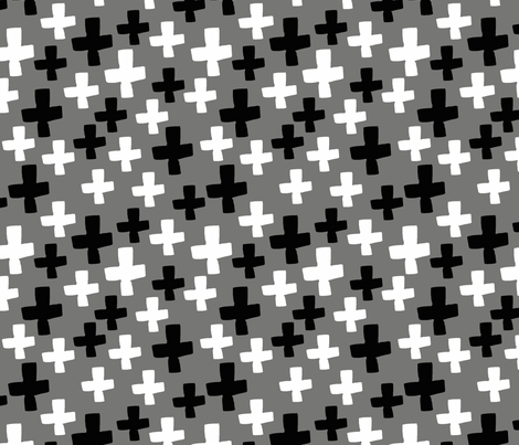 Swiss Cross - Black and White fabric by andrea_lauren on Spoonflower - custom fabric