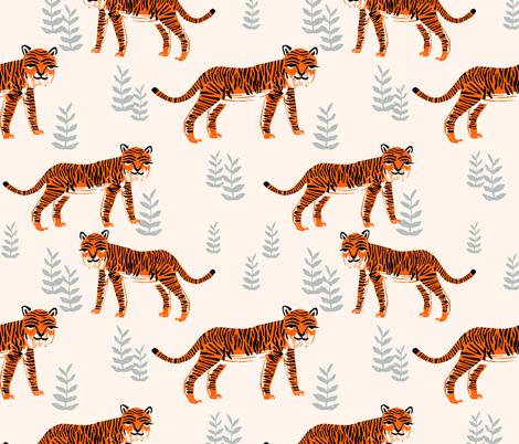 Safari Tiger - Cadmium Orange/Slate Grey/Champagne by Andrea Lauren fabric by andrea_lauren on Spoonflower - custom fabric
