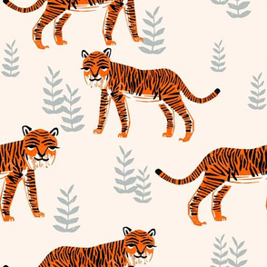 Safari Tiger - Cadmium Orange/Slate Grey/Champagne by Andrea Lauren