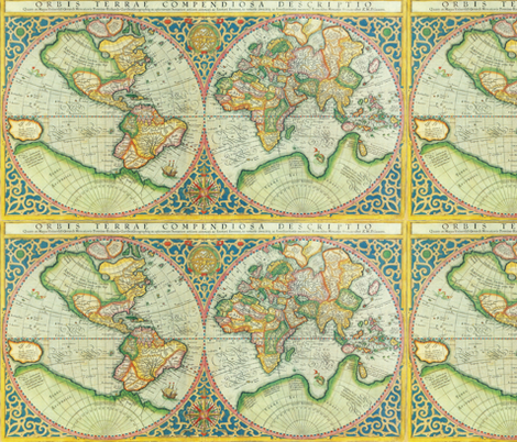 Antique World Map fabric by aftermyart on Spoonflower - custom fabric