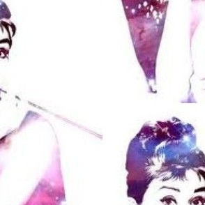 Audrey Hepburn in purple - large scale