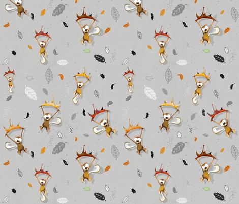 Chipmunks on grey fabric by mulberry_tree on Spoonflower - custom fabric