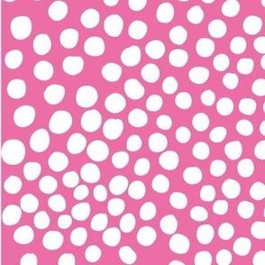 Doodle Dots - white magenta