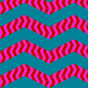 mad chevrons - pink on teal
