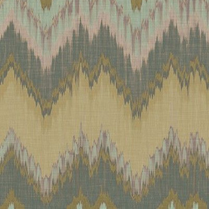 Yellow and Teal Ikat Chevron