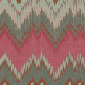 Raspberry and Teal Ikat Chevron