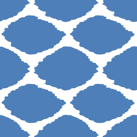 Gem Blue Oval Ikat fabric by willowlanetextiles on Spoonflower - custom fabric