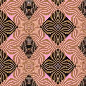 gold stripe pink flower batik